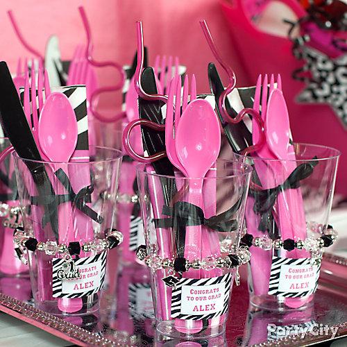 Pink & Zebra Grad Cutlery Cups Idea
