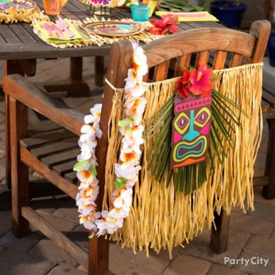 Raffia Luau Chair Decorating Idea