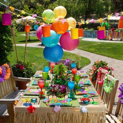 luau dining table idea - Luau Decorations