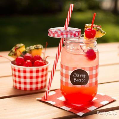 Outdoor BBQ Mason Jar Drink Idea