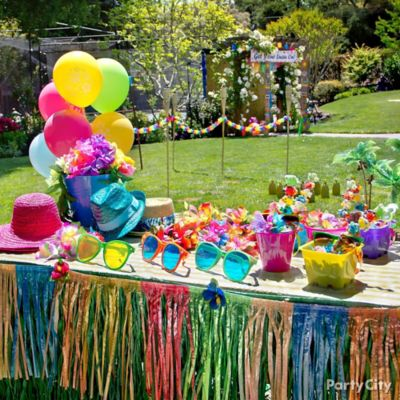 Luau Dress Up Favors Display Idea