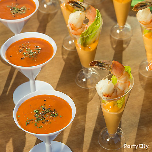 Mini Soup and Shrimp Cocktails Idea