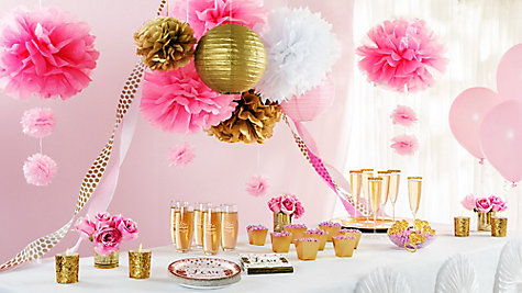 Sparkling Bridal Shower Ideas - Pink And Gold Bridal Shower Decorations Idea - Party City