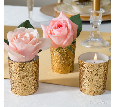 Gold Glam Floral Centerpiece Idea