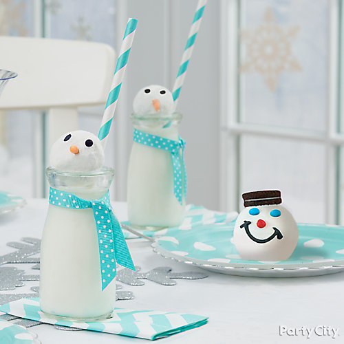 Snowman Milk Bottles Idea