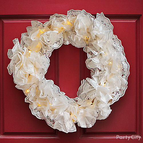 DIY Light Up Doily Wreath