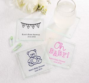 Generic Baby Personalized Baby Shower Glass Coasters (Printed Glass)