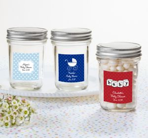 Baby Boy Personalized Baby Shower Mason Jar with Solid Lid (Printed Label)