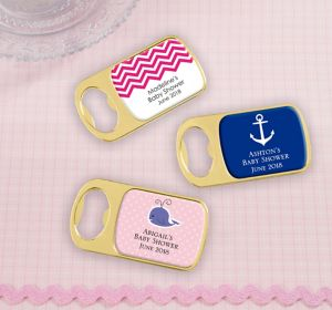 Baby Girl Personalized Baby Shower Bottle Openers - Gold (Printed Epoxy Label)