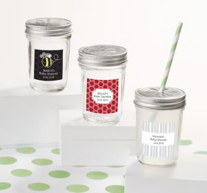 Gender Neutral Personalized Baby Shower Mason Jars with Daisy Lids (Printed Label)
