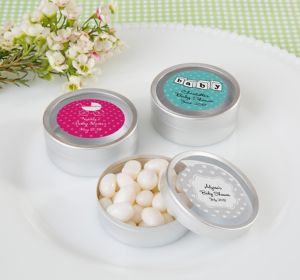 Gender Neutral Personalized Baby Shower Round Candy Tins - Silver (Printed Label)