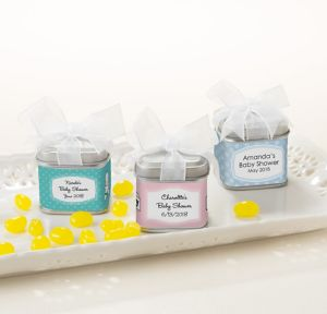 Gender Neutral Personalized Baby Shower Favor Tins with Bows (Printed Label)