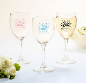 Girl or Boy Personalized Gender Reveal Wine Glasses (Printed Glass)