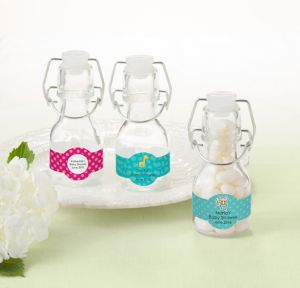 Fisher-Price Jungle Personalized Baby Shower Glass Swing Top Bottles (Printed Label)