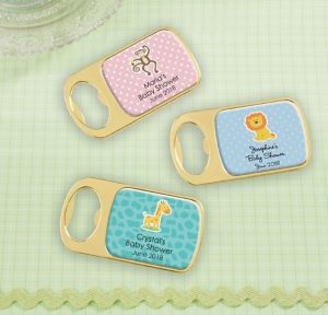 Fisher-Price Jungle Personalized Baby Shower Bottle Openers - Gold (Printed Epoxy Label)