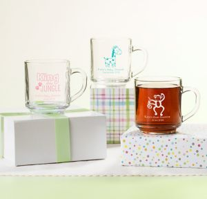 Fisher-Price Jungle Personalized Baby Shower Glass Coffee Mugs (Printed Glass)