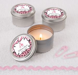 Pink Safari Personalized Baby Shower Candle Tins (Printed Label)