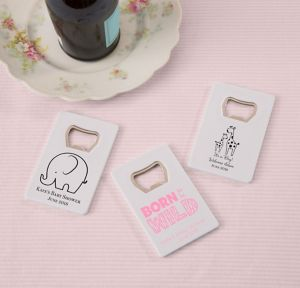 Pink Safari Personalized Baby Shower Credit Card Bottle Openers - White (Printed Plastic)