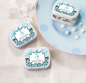 Blue Safari Personalized Baby Shower Mint Tins with Candy (Printed Label)