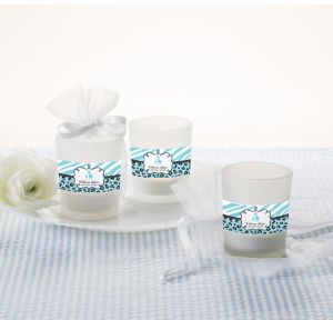 Blue Safari Personalized Baby Shower Glass Votive Candle Holders (Printed Label)