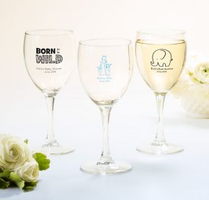 Blue Safari Personalized Baby Shower Wine Glasses (Printed Glass)