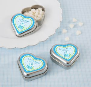 Welcome Baby Boy Personalized Baby Shower Heart-Shaped Mint Tins with Candy (Printed Label)