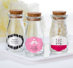 Personalized Glass Milk Bottles with Corks <br>(Printed Label)</br>