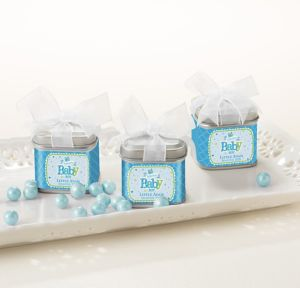 Welcome Baby Boy Personalized Baby Shower Favor Tins with Bows (Printed Label)