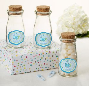 Welcome Baby Boy Personalized Baby Shower Glass Milk Bottles with Corks (Printed Label)