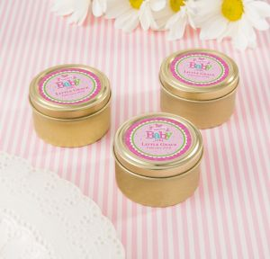 Welcome Baby Girl Personalized Baby Shower Round Candy Tins - Gold (Printed Label)