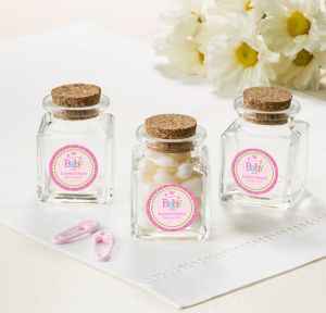 Welcome Baby Girl Personalized Baby Shower Small Glass Bottles with Corks (Printed Label)