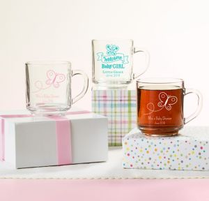Welcome Baby Girl Personalized Baby Shower Glass Coffee Mugs (Printed Glass)