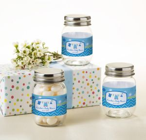It's a Boy Personalized Baby Shower Mini Glass Mason Jars (Printed Label)