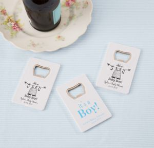 It's a Boy Personalized Baby Shower Credit Card Bottle Openers - White (Printed Plastic)