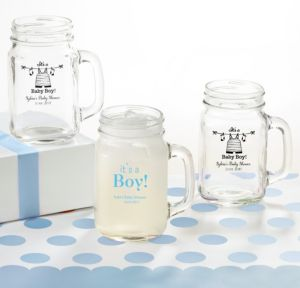 It's a Boy Personalized Baby Shower Mason Jar Mugs (Printed Glass)