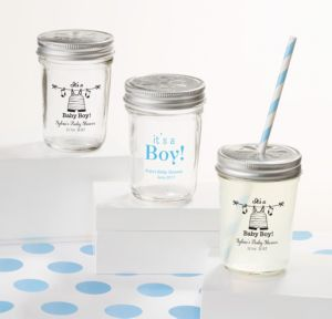 It's a Boy Personalized Baby Shower Mason Jars with Daisy Drink Lids (Printed Glass)