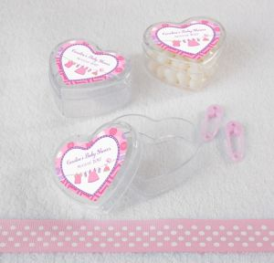 It's a Girl Personalized Baby Shower Heart-Shaped Plastic Favor Boxes (Printed Label)