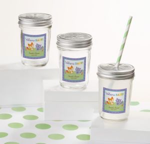 Woodland Personalized Baby Shower Mason Jars with Daisy Lids (Printed Label)
