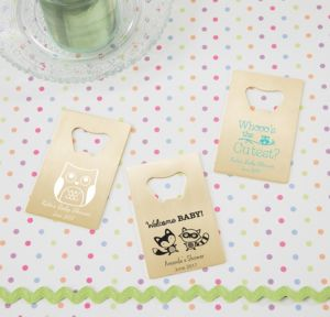 Woodland Personalized Baby Shower Credit Card Bottle Openers - Gold (Printed Metal)