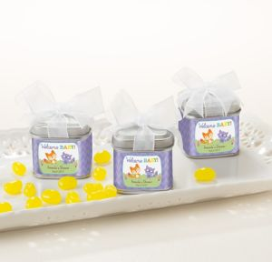 Woodland Personalized Baby Shower Favor Tins with Bows (Printed Label)