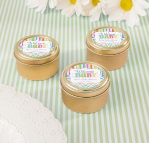 Bright Chevron Personalized Baby Shower Round Candy Tins - Gold (Printed Label)