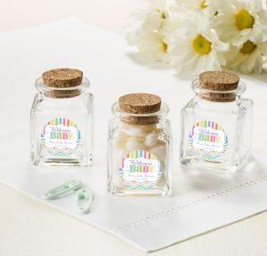 Bright Chevron Personalized Baby Shower Small Glass Bottles with Corks (Printed Label)