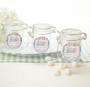 Bright Chevron Personalized Baby Shower Small Glass Jars (Printed Label)