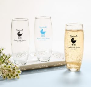 Blue Stroller Personalized Baby Shower Stemless Champagne Flutes (Printed Glass)