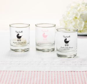 Pink Stroller Personalized Baby Shower Shot Glasses (Printed Glass)