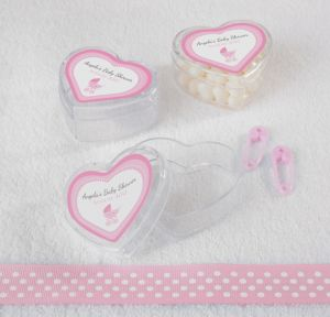 Pink Stroller Personalized Baby Shower Heart-Shaped Plastic Favor Boxes (Printed Label)