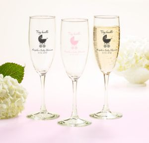 Pink Stroller Personalized Baby Shower Champagne Flutes (Printed Glass)