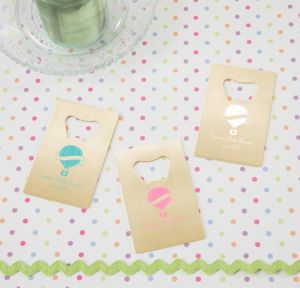 Up Up Away Personalized Baby Shower Credit Card Bottle Openers - Gold (Printed Metal)