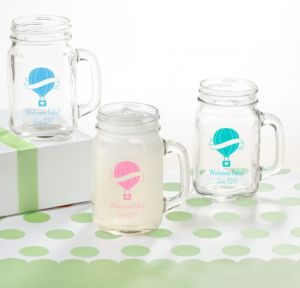 Up Up Away Personalized Baby Shower Mason Jar Mugs (Printed Glass)