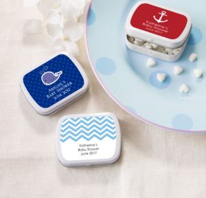 Ahoy Nautical Personalized Baby Shower Mint Tins with Candy (Printed Label)